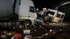 Accident groaznic. Un microbuz cu 16 persoane, spulberat de un TIR