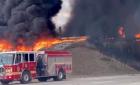 O cisternă care transporta 15.000 de litri de kerosen a explodat pe o autostradă