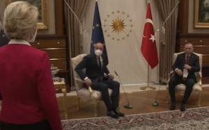 Erdogan nu da doi bani pe femei. Şefa CE Ursula Von der Leyen lăsată în picioare la întâlnirea cu