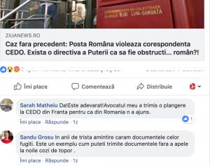 Minciuna de la Posta Româna! Dovada ca se obstructioneaza trimiterea actelor in procesele românilor de la CEDO