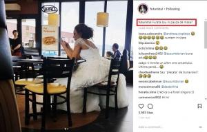 Razvan Simion a pozat o mireasa singura intr-un fast food, iar imaginile au devenit virale