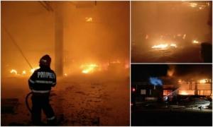 Tulcea: Incendiu devastator la Regia de transport public! 14 autobuze în flăcări