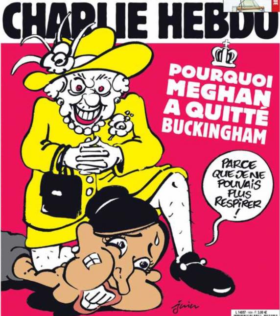 Charlie Hebdo scandalizeaza Marea Britanie cu o caricatură cu Regina calcând polițienește pe Meghan Markle