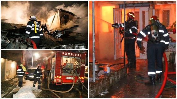 Incendiu în Capitală. Zeci de pompieri la intervenţie. Mai multe case cuprinse de flăcări. Oameni evacuaţi în ger