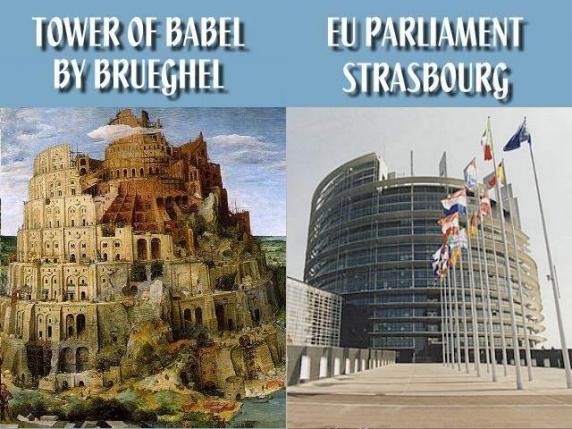 Parlamentul European seamana izbitor cu Turnul Babel. Masonii vor sa continue lucrarea si sa aduca un Guvern Mondial si o Religie Mondiala - VIDEO