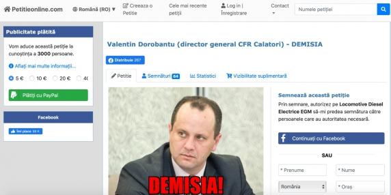 Petitieonline.ro: Valentin Dorobantu (director general CFR Calatori) - DEMISIA!