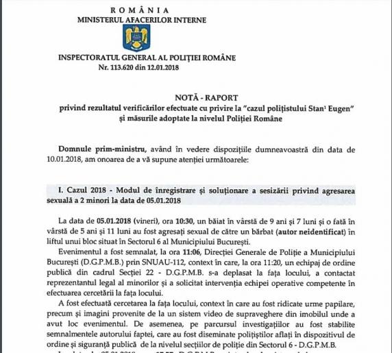 Rezumatul raportului prezentat de Bogdan Despescu premierului. Sunt nominalizați chestori, comisari șefi, agenți de Politie