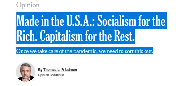 Socialism in SUA doar pentru bogați. Capitalism pentru ceilalți