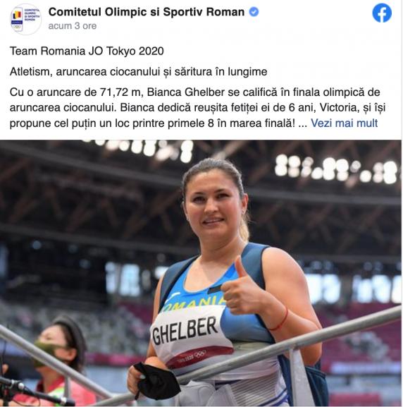 Vrea o medalie pentru fetița ei! Cine e sportiva din România care s-a calificat în finală la Jocurile Olimpice de la Tokyo