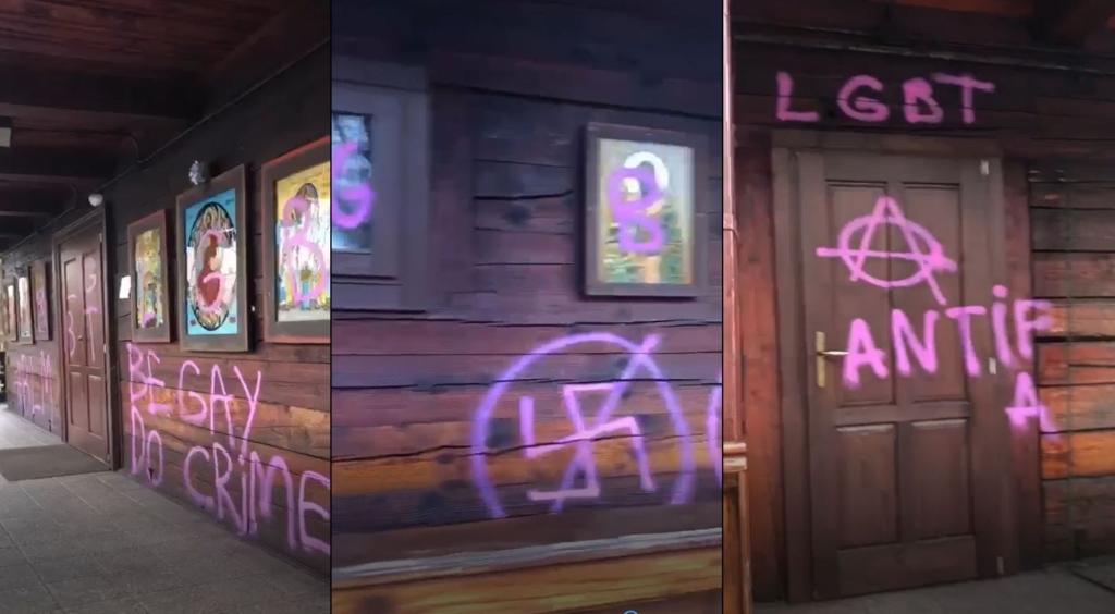Biserica de lemn din Parcul IOR a fost vandalizata cu mesaje pro LGBT