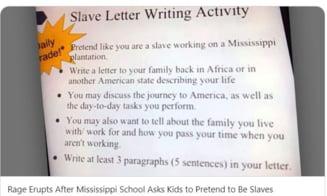 Indignare in Mississippi dupa ce un profesor le-a cerut elevilor sa isi imagineze ca sunt sclavi si sa scrie o scrisoare celor ramasi in Africa