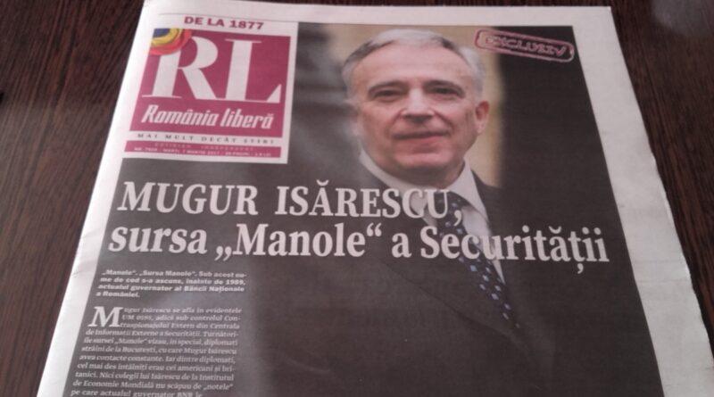 """Isărescu zis """"Manole"""" e deranjat că a fost declarat colaborator al Securității"""