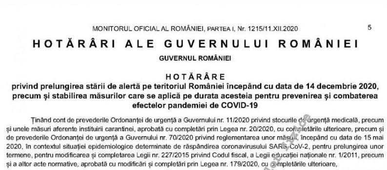 Starea de alertă pe teritoriul României a fost prelungită începând de pe 14 decembrie 2020